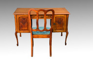 SOLD Carved Oak Flat Top Desk with Chair