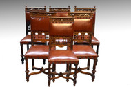 SOLD Set of 6 Carved Walnut and Leather Dining Chairs
