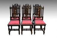 SOLD Antique Set of 6 Heavily Carved Oak Dining Chairs