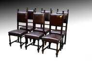 SOLD Set of 6 Jacobean Leather Seat Dining Chairs