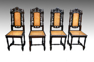 SOLD Antique Set of 4 Oak Carved Chairs with Birds