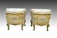 SOLD Rare Pair of Bombay Hand Painted Decorated French Nightstands *REDUCED PRICE*