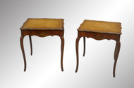 SOLD Pair of French Provincial Leather Top End Tables