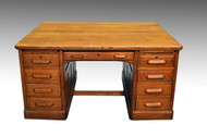 SOLD Antique Oak Partner Raised Panel Executive Desk by Derby