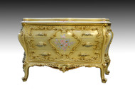SOLD French Style Hand Decorated Bombay Carved Chest