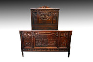 SOLD Antique Carved Oak Britton Story Bed