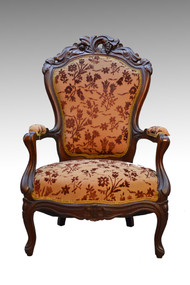 SOLD Civil War Era Victorian Pierce Carved Gentleman's Arm Chair