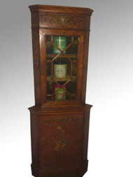 SOLD Decorated Period Corner Cupboard