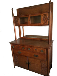SOLD Unusual Oak Curio Top Sideboard Paine Furniture **REDUCED PRICE**