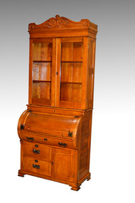 SOLD Oak Cylinder Secretary Desk