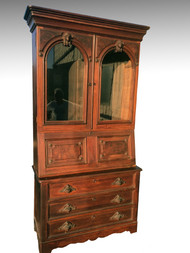 SOLD Antique Civil War Era Walnut Secretary with Jenny Lind Heads