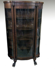 SOLD Antique Oak Triple Curved Glass Claw Foot China Cabinet