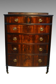 SOLD Berkey and Gay Flame Mahogany Bow Front Tall Chest