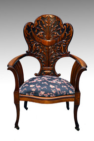 SOLD Antique Art Nouveau Style Mahogany Arm Chair