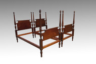 SOLD Pair of Solid Mahogany Pineapple Twin Size Poster Beds