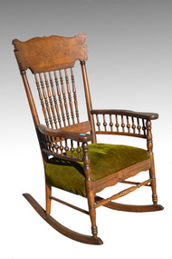 SOLD Antique Victorian Country Press Back Rocker Rocking Chair **REDUCED PRICE**