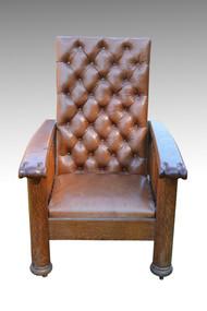 SOLD Unusual Leather Oak Reclining Morris Chair