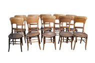 SOLD Set of 10 Solid Oak Dining Chairs - Hard to Find