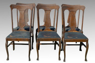 SOLD Set of 6 Tiger Sawn Oak Claw Foot Dining Chairs