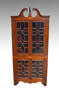SOLD Mahogany Inlaid Corner China Cabinet with Flame Finial **REDUCED PRICE**