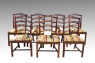 SOLD Set of 7 Mahogany Chippendale Ribbon Back Dining Room Chairs