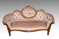 SOLD Victorian Cameo Back Grape Carved Sofa- Civil War