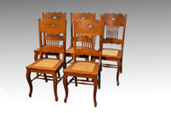 SOLD Antique Victorian Set of Five Oak Dining Chairs