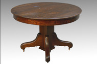 SOLD Antique Round Oak Dining Table with Split Base