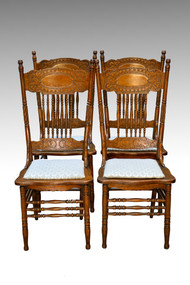 SOLD Antique Set of 4 Larkin #1 Press Back Chairs
