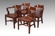 SOLD Vintage Set of 4 Mahogany Lawyer Office Arm Desk Chairs