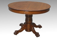 SOLD Antique Victorian Round Oak Claw Foot Dining Table