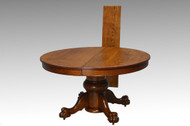 SOLD Antique Victorian Large Bulbous Base Oak Round Dining Table with Claw Feet