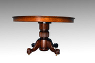 "SOLD Antique Victorian Oak Ball and Claw 54"" Dining table w/ 2 Leaves"