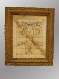 SOLD Antique Picture Frame with Marriage Certificate