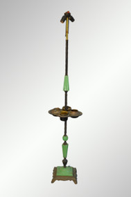 SOLD Onyx and Brass Smoking Stand Ash Tray Pole Lamp