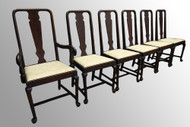SOLD Set of  6 Queen Anne Chippendale Dining Chairs