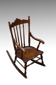 SOLD Antique Victorian Oak Children's Pressback Rocker