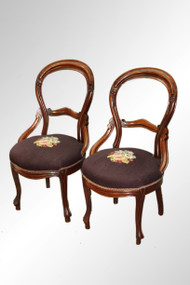 SOLD Antique Pair of Victorian Needlepoint Lady's Chairs
