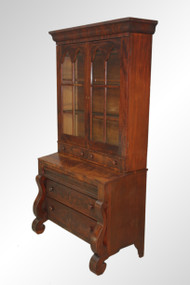SOLD Antique Period Flame Mahogany Secretary Bookcase Desk