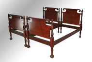SOLD Antique Acanthus Carved Ball and Claw Twin Mahogany Beds