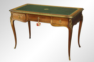 SOLD Antique French Brass Trim Leather Top Writing Desk