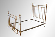 SOLD  Antique Victorian Age Cannonball Brass Bed, Curved Footboard