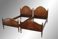 SOLD Antique Pair of Twin Floral Decorated Beds