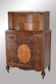 SOLD Carved Deco Tall Chest- Fancy