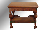 SOLD Antique Oak Carved Lamp Table