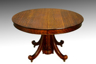 SOLD Antique Victorian Round Oak Dining Table with leaf