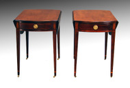 SOLD Antique Pair of Inlaid Pembroke Drop-leaf Stands by Baker