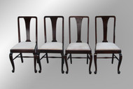 SOLD Antique Set of Four Mahogany Chippendale Dining Chairs