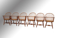 SOLD Antique Set of Six Oak Firehouse Windsor Chairs