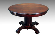 "SOLD Antique Mahogany 48"" Empire Dining Table"